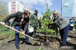 Высадка деревьев в Литературном сквере, возле Челябинской областной публичной библиотеки. Челябинск, лавров сергей, посадка деревьев, озеленение города, соколова екатерина, высадка сосны