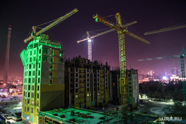 Иллюстрации, разное, долгострой, телебашня, строительный кран, стройка, строительство, недостроенная телевышка, ночь, подсветка, недостроенная башня