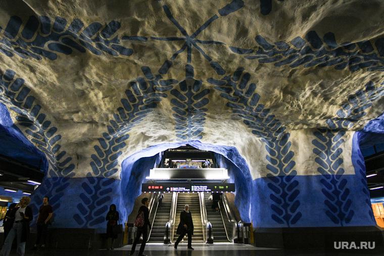 Метро в Стокгольме , эскалатор, пещера, метро, лестница, стокгольм