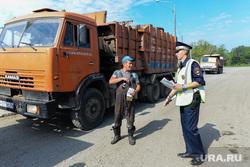 Рейд полиции и представителей Министерства экологии на челябинскую городскую свалку. Челябинск, камаз, полиция, рейд по проверке документов, грузовой транспорт