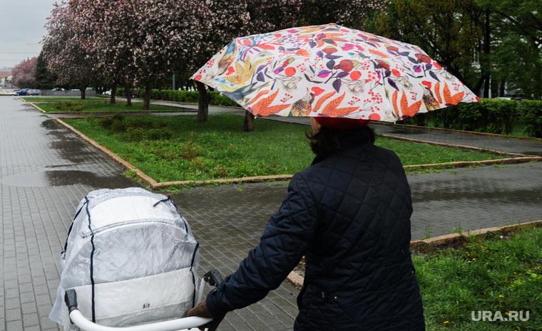 Дождь, непогода. Челябинск, погода, коляска детская, весна, климат, непогода, дождь, зонт, яблони цветут