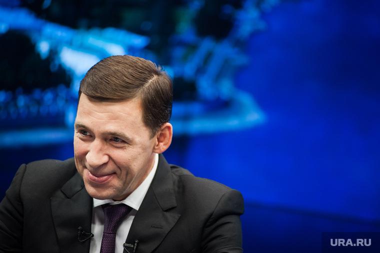 Интервью с губернатором Свердловской области Евгением Куйвашевым в студии телеканала