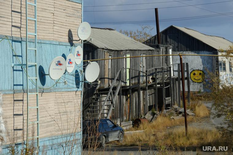 Поселок Тазовский, Новый Уренгой, Ямало-Ненецкий автономный округ, сарай, смайлик, поселок тазовский, телевизионная антенна, спутниковое телевидение
