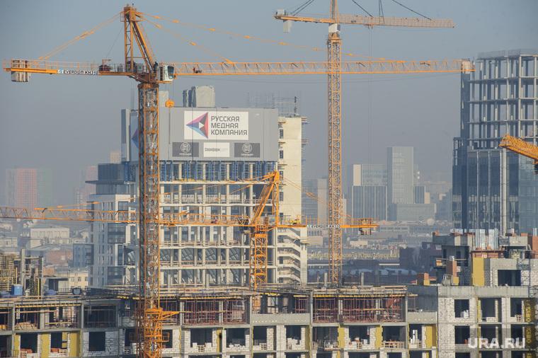 Виды Екатеринбурга, строительный кран, русская медная компания, недвижимость, новостройка, рмк, стройка