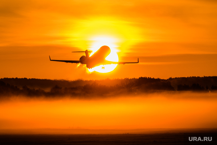 Споттинг в Кольцово. Екатеринбург, туман, взлет, рассвет, авиаперевозчики, самолет