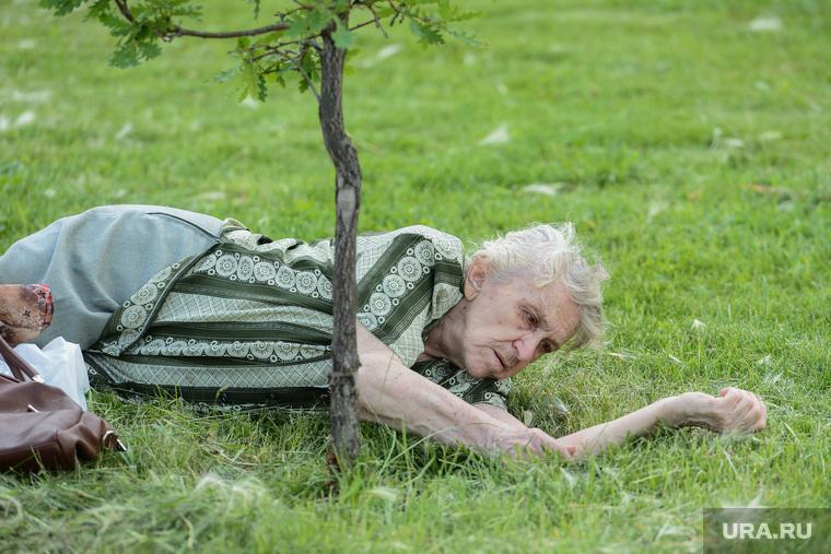 Митинг СР против повышения пенсионного возраста. Челябинск, пенсионерка, старость, бабушка