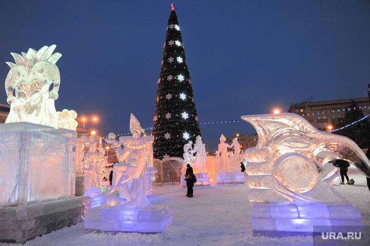 Запуск Ледового городка в эксплуатацию. Челябинск, ледовый городок, ледовые скульптуры