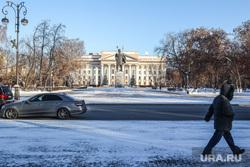 Зима. Тюмень, памятник ленину, центральная площадь, правительство, город тюмень