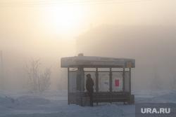 Мороз и ледяной туман. Салехард. 31 января 2019 г, остановка транспорта, мороз, зима, туман