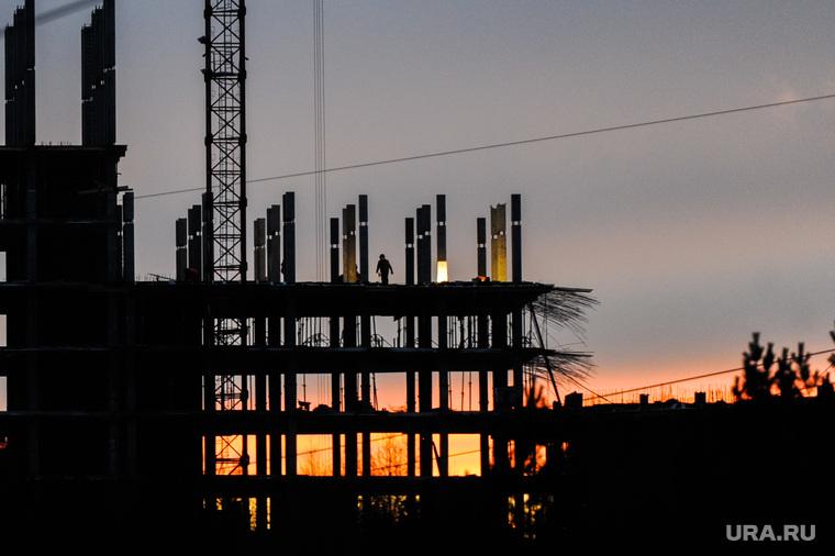 Стройка. Челябинск, жилье, новостройка, строитель, закат, стройка
