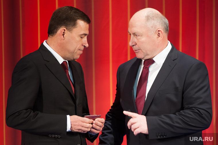 Официальная церемония вступления Евгения Куйвашева в должность губернатора Свердловской области. Екатеринбург, куйвашев евгений, чайников валерий
