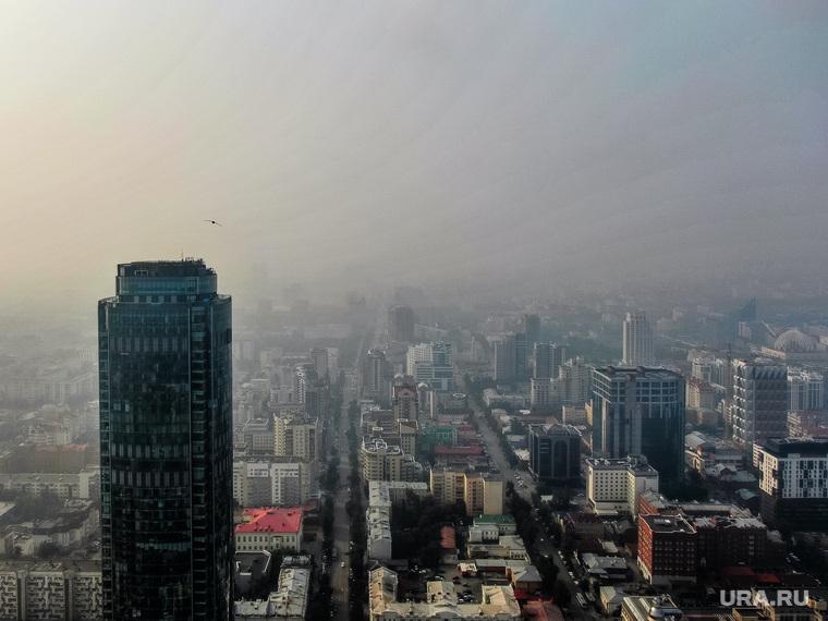Виды с квадрокоптера. Екатеринбург, бц высоцкий, город екатеринбург, вид сверху, виды города, туман