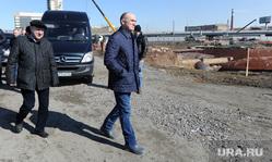 Обход Борисом Дубровским мест строительства конгресс-холла к саммитам ШОС и БРИКС на набережной реки Миасс возле цирка. Челябинск