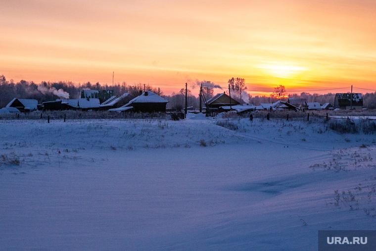 Заболотье Тюменская область., зима, деревня, рассвет, пейзаж