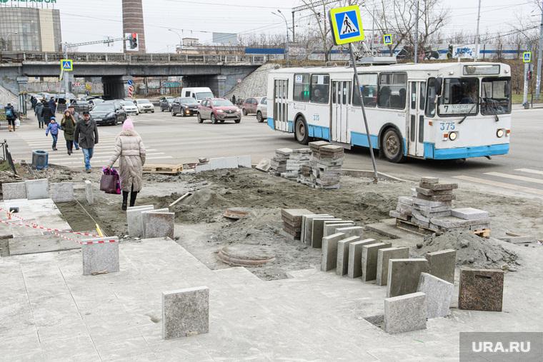 Ремонт пешеходной части на улице Малышева и проспекте Ленина. Екатеринбург, тротуарная плитка, гранитная плитка, ремонт пешеходной зоны, ремонт тротуара