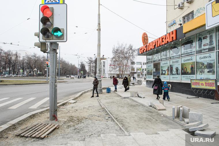 Ремонт пешеходной части на улице Малышева и проспекте Ленина. Екатеринбург