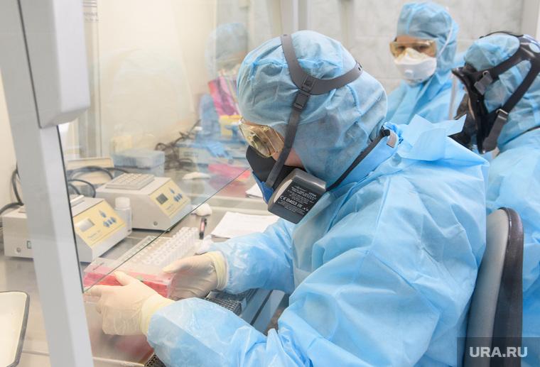 Исследование анализов на коронавирус в лаборатории ЕКДЦ. Екатеринбург, лаборатория, защитный костюм, коронавирус, covid-19, covid19, противочумный костюм