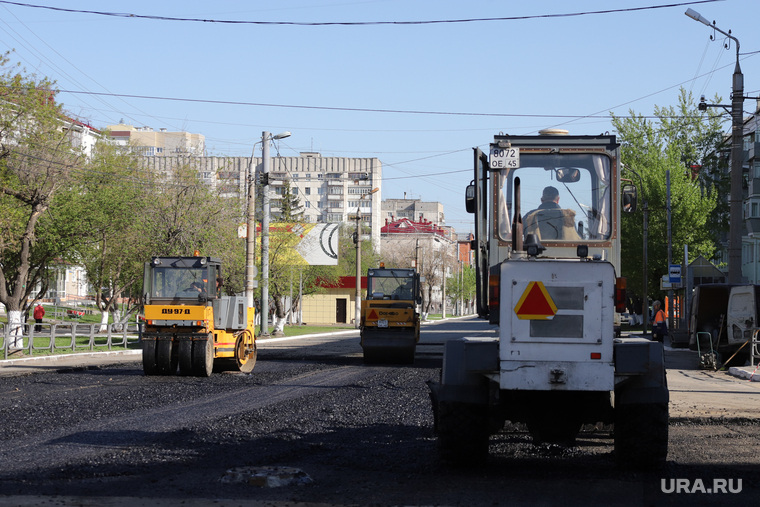 Город перед днем Победы. Курган, ремонт дороги, ул пролетарская, украшение города к 9 мая