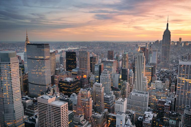 Клипарт depositphotos.com, сша, небоскребы, закат нью йорка, панорамный вид