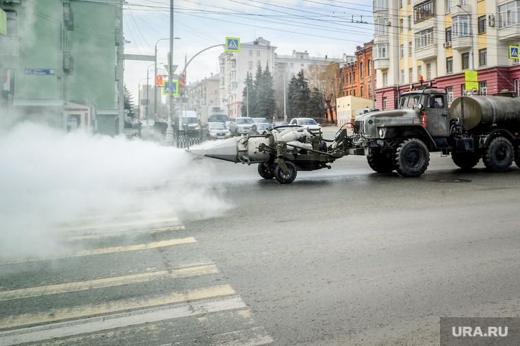 Дезинфекция проспекта Ленина и улицы Воровского. Челябинск