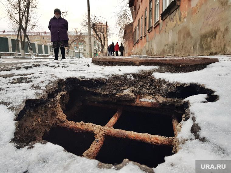 Благоустройство городского парка в снег. Курган