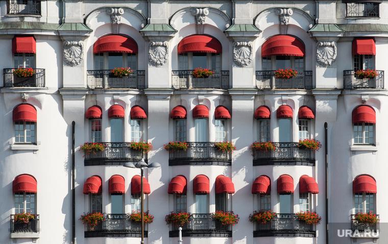 Виды Стокгольма. Швеция, старый дом, архитектура, балконы