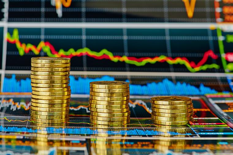 Клипарт депозитфото, монеты, биржевые графики, фондовая биржа, инвестиции, фондовый рынок, деньги, экономика