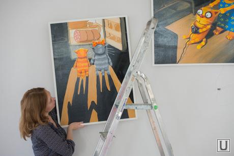 Подготовка выставки работ Васи Ложкина в Галерее современного искусства. Екатеринбург, котинова екатерина, вася ложкин