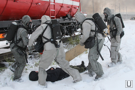 Учения МЧС Курган, эвакуация пострадавшего