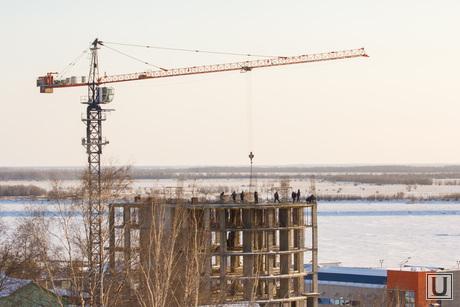 Ледовый городок. Ханты-Мансийск., кран, ханты-мансийск, стройка