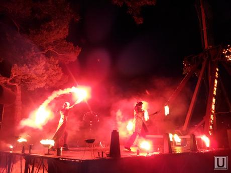 Зимнее солнцестояние, парк Гагарина, Челябинск, огненное колесо обозрения, огонь, фаер шоу