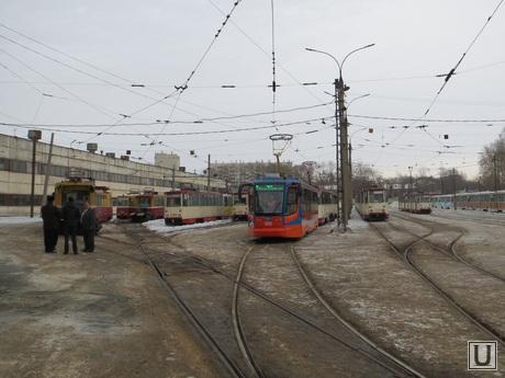 Трамвайный парк. ЧелябГЭТ. Челябинск., депо, трамвайный парк