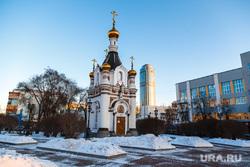 Снежный Екатеринбург, площадь труда, часовня святой екатерины, город екатеринбург