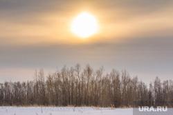 Деревня Ярки, зимник. Ханты-Мансийский район, солнце, закат, зима, север