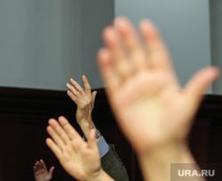 Визит Комаровой. Сургут, поднятые руки, голосование
