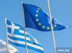 Санторини. Греция, флаг евросоюза, флаг греции