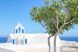 Санторини. Греция., дерево, санторини, церковь греция