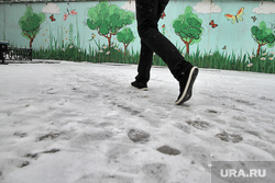 Снегопад. Екатеринбург, снег, зима, рисунок на стене