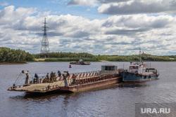Мост через Вах. Излучинск, корабль, паром, переправа, баржа