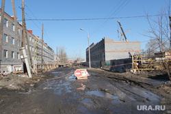 Кокорин  осмотр городских объектов  Курган, проезд закрыт, стройка