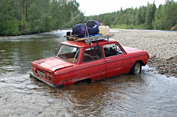 Уральцы заехали на перевал Дятлова на Запорожце, река, запорожец
