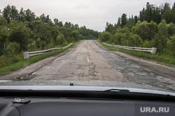 Провал на дороге Тюмень - Ханты-Мансийск. Уватский район, ямы на дороге