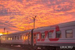 Клипарт. Нижневартовск, поезд, закат, вагон, ржд, зарево, вечер