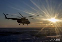 Клипарт. ЯНАО, вертолет, закат, янао, тундра, солнце, ямал