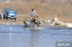 Паводок. Челябинская область, лошадь, паводок, конная повозка, телега, наводнение
