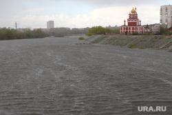 Паводок Курган, богоявленский храм, река тобол, паводок2016