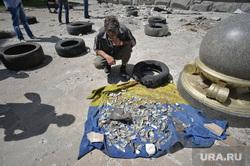 Здание ОДА. Луганск. Украина , флаг украины, последствия сражения, осколки