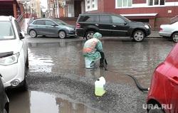 Лужа. Тюмень, ливень, лужи, дождь