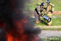 Учения МЧС на ТЭЦ Курган, огонь, пожарные