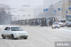 Снегопад. Уборка города. Челябинск., снегоуборочная техника